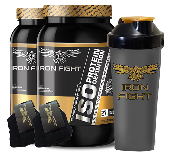 Combo 2 unid ISO Protein Definition Pote 907g em pó + Coqueteleira Iron Fight + Luva Iron Fight