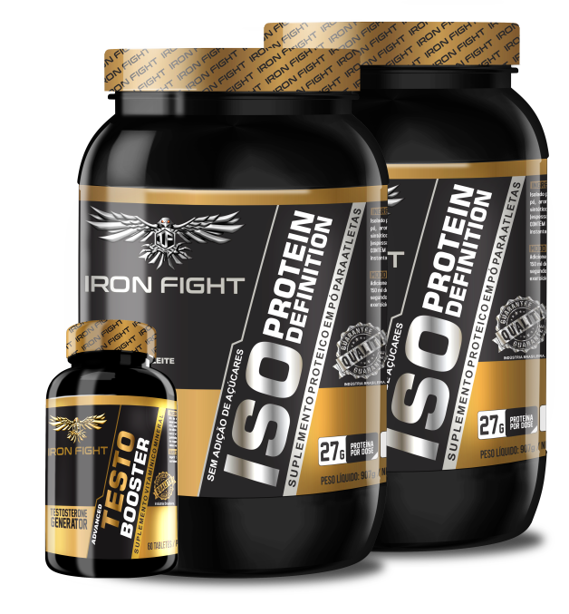 Combo 2 unid ISO Protein Definition Pote 907g em pó Iron Fight + Testo Booster Pote 60 Tabletes Iron Fight