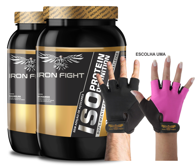 Combo 2 unid ISO Protein Definition Pote 907g em pó + Luva Iron Fight