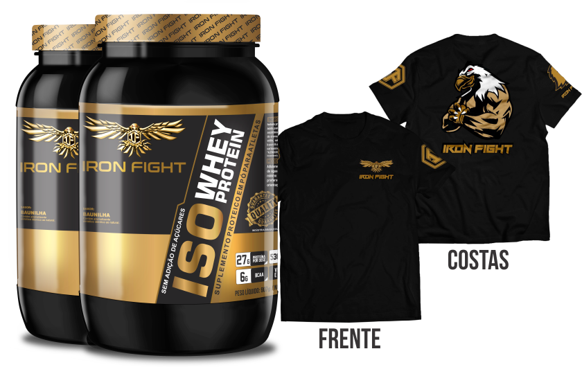 Combo 2 unid ISO Whey Protein Pote 907g em pó + Camiseta Iron Fight