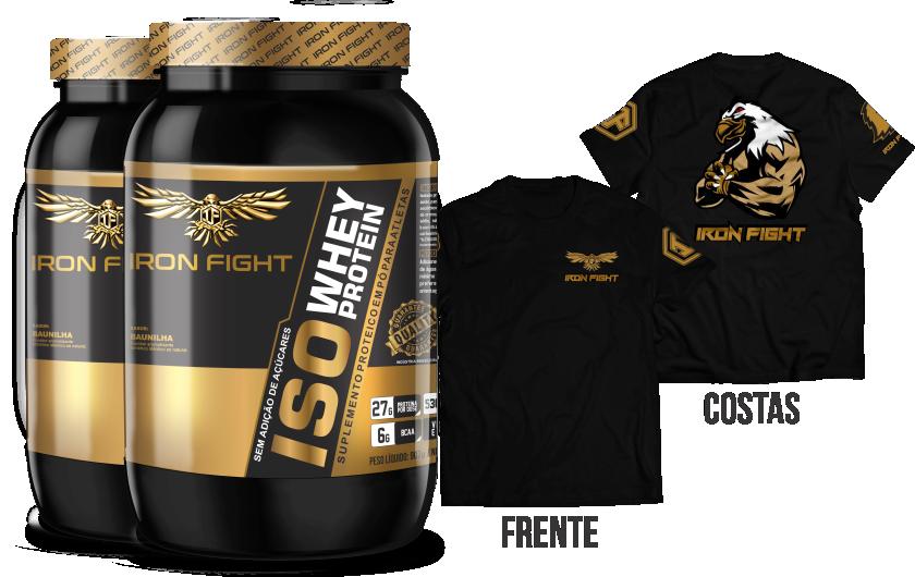 Combo 2 unid ISO Whey Protein Pote 907g em pó + Camiseta Iron Fight