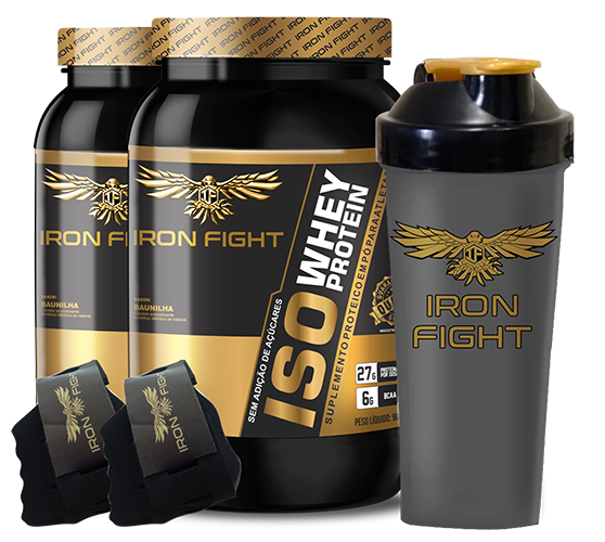 Combo 2 unid ISO Whey Protein Pote 907g em pó + Coqueteleira Iron Fight + Luva Iron Fight