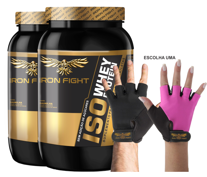 Combo 2 unid ISO Whey Protein Pote 907g em pó + Luva Iron Fight