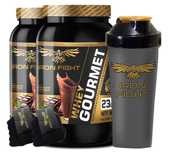 Combo 2 unid Whey Gourmet Pote 907g em pó + Coqueteleira Iron Fight + Luva Iron Fight