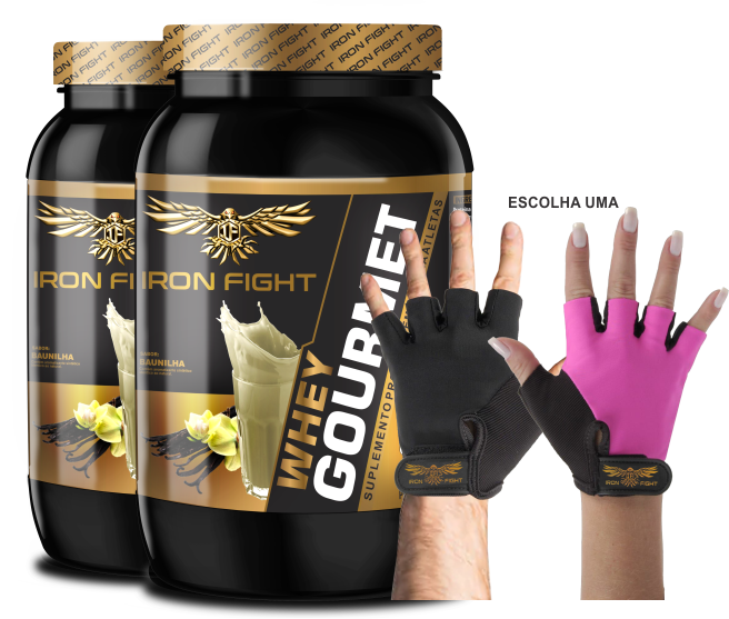 Combo 2 unid Whey Gourmet Pote 907g em pó + Luva Iron Fight
