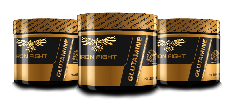 Combo 3 unid Glutamine Pote 150g em pó Iron Fight