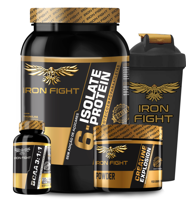 Combo 6-Isolate Protein + Creatine Explosion + BCAA 3:1:1 + Coqueteleira Iron Fight