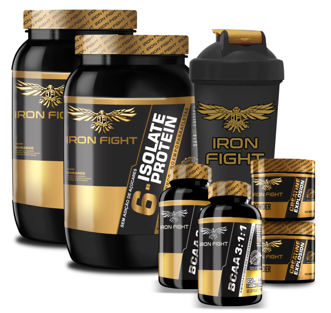Combo Iron Fight 2x (6 Isolate Protein + Creatine Explosion + BCAA 3:1:1) + Coqueteleira Iron Fight