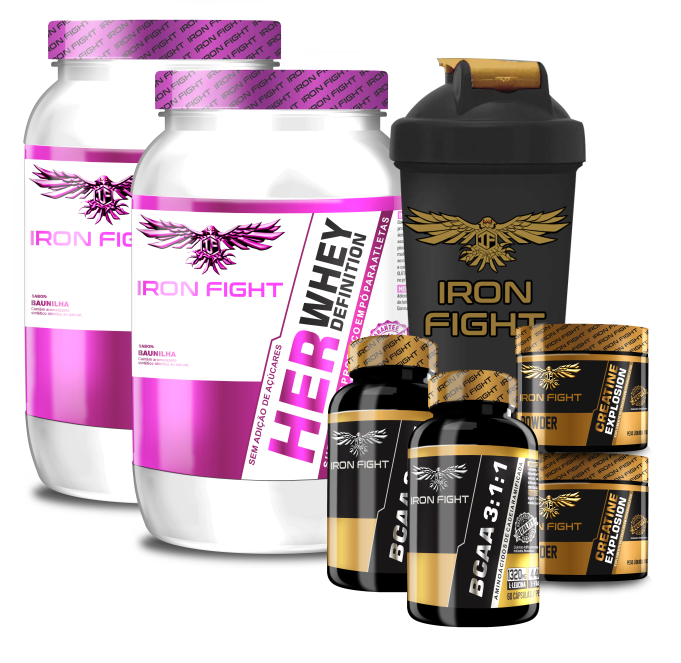 Combo Iron Fight 2x (Her Whey Definition + Creatine Explosion + BCAA 3:1:1) + Coqueteleira Iron Fight