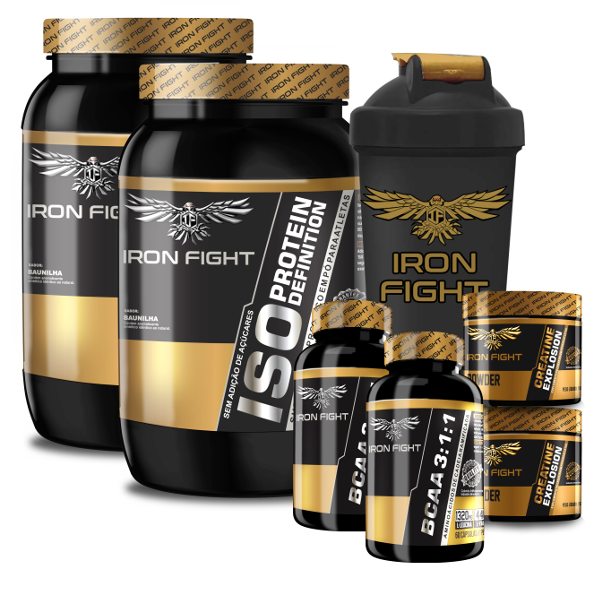 Combo Iron Fight 2x (ISO Protein Definition + Creatine Explosion + BCAA 3:1:1) + Coqueteleira Iron Fight
