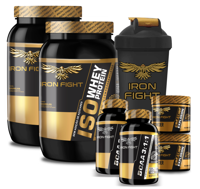 Combo Iron Fight 2x (ISO Whey Protein + Creatine Explosion + BCAA 3:1:1) + Coqueteleira Iron Fight