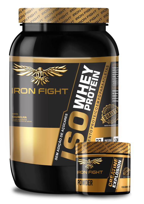 Combo ISO Whey Protein 907g em pó Iron Fight + Creatine Explosion 150g em pó Iron Fight