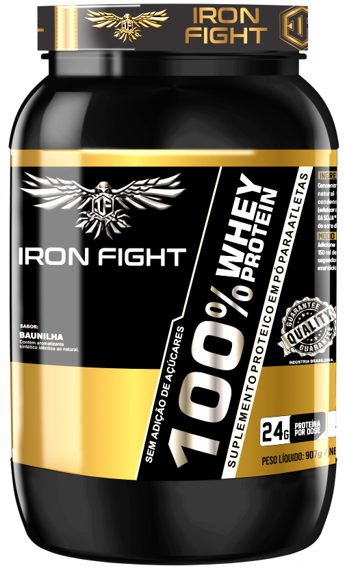 Whey Protein 100% Pote 907g em pó Iron Fight