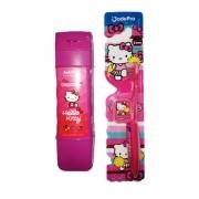 kit 1 Porta Escova Estojo + 1 Escova Hello Kitty