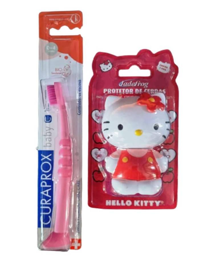 KIT 1 ESC DENTAL INFANTIL  CURAKID CURAPROX  + 1 PORTA ESC HELLO KITTY