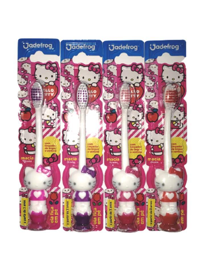 kit 1 Porta Escova e 1 Escova Hello Kitty com ventosa
