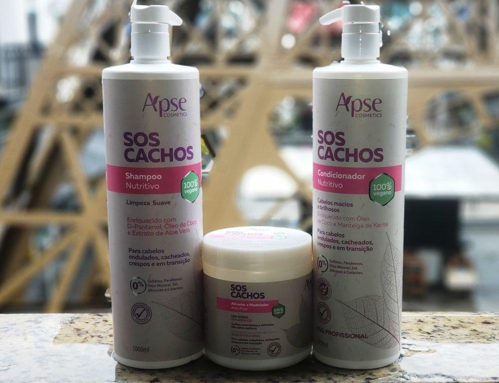 KIT 1 SH NUTRITIVO + 1 COND SOS CACHOS  1000ML + 1 CREME ATIVADOR - APSE - 100% VEGANO