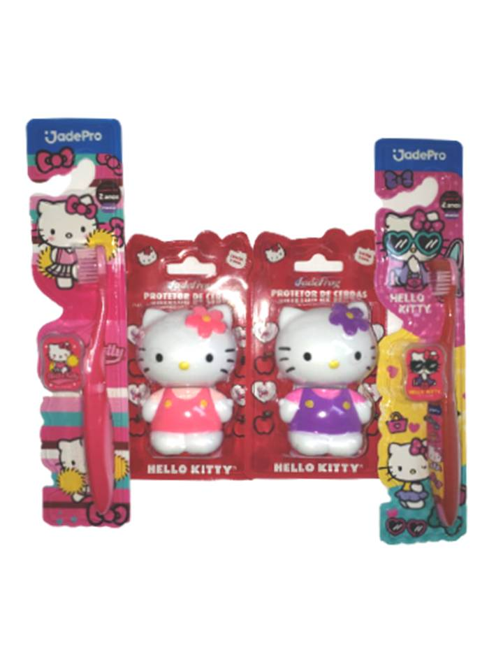 kit 2 Porta Escova e 2 Escova Hello Kitty