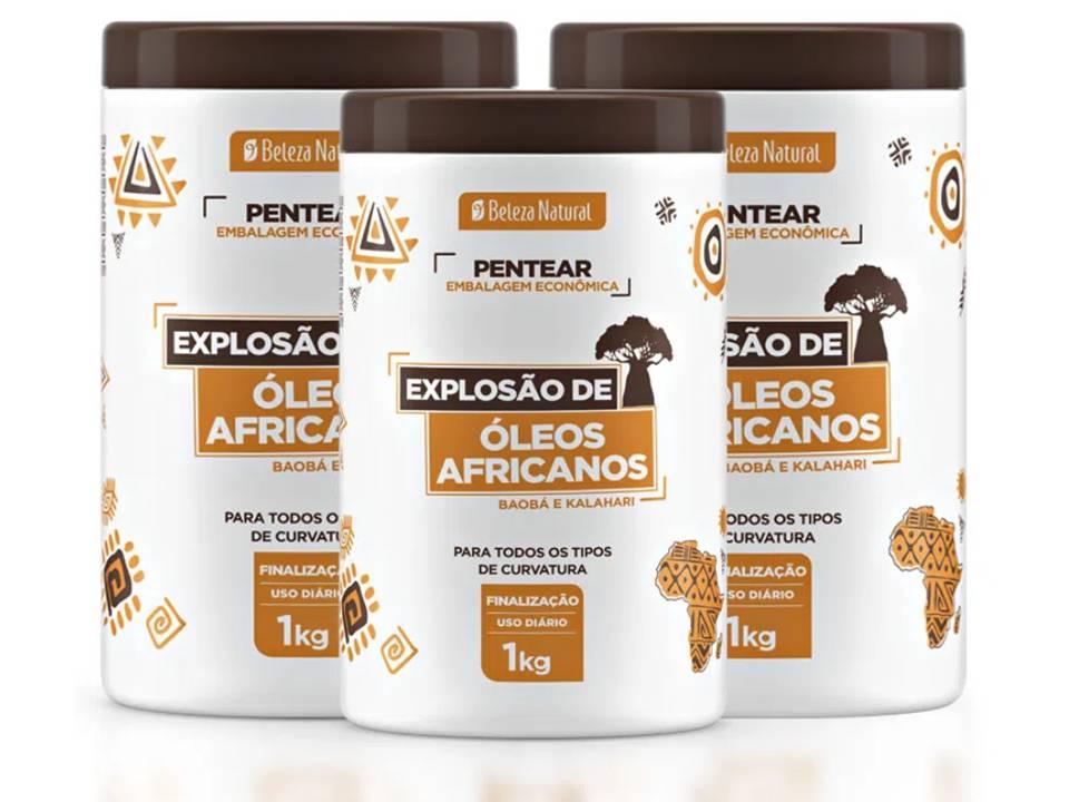 kit 3 Creme de Pentear Explosão de Óleos Africanos 1kg Beleza Natural