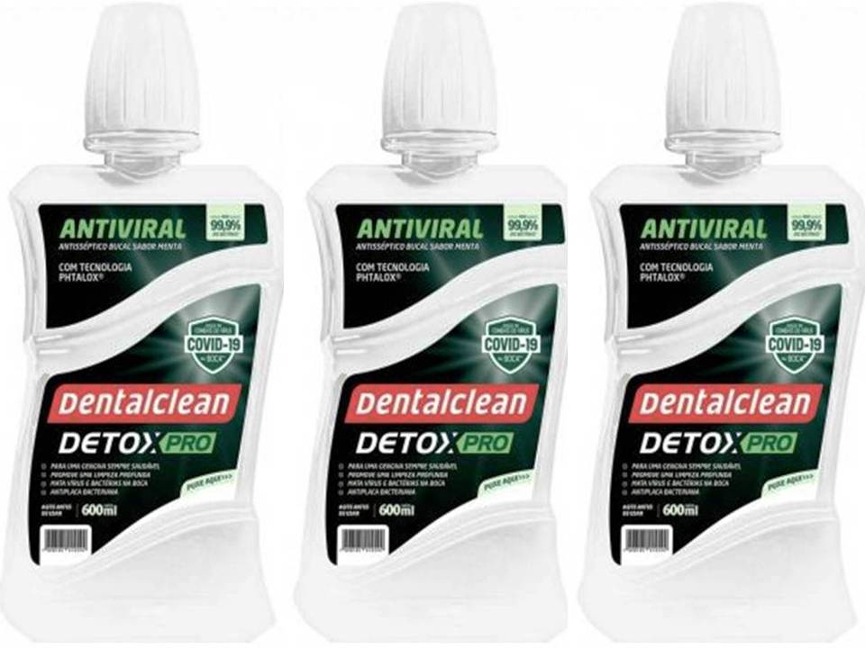 Kit 3 Enxaguante Bucal Detox Viral Pro - Dentalclean 600ml
