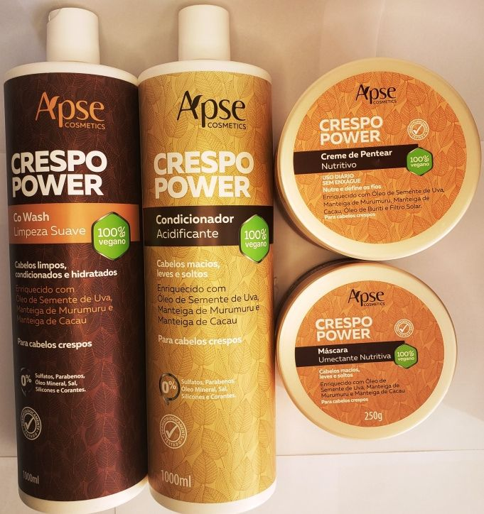 KIT Crespo Power - 1 Co Wash + 1 Cond 1000ml +Mascara + Creme de pentear - Apse - 100% VEGANO