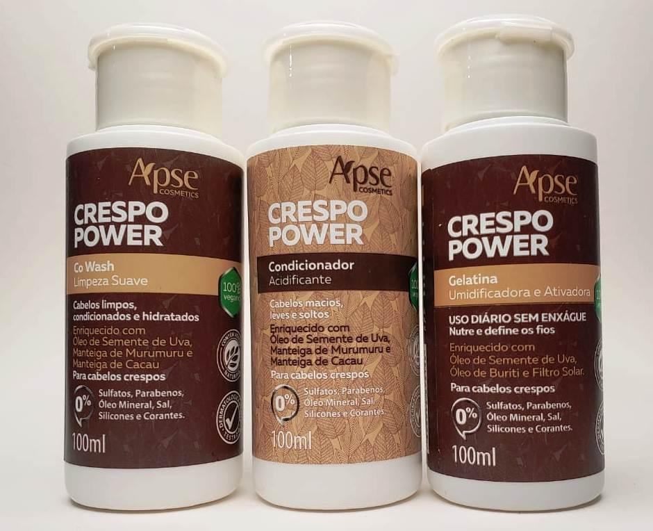 Kit viagem Crespo Power 100ml - 3 produtos Apse - 100% VEGANO