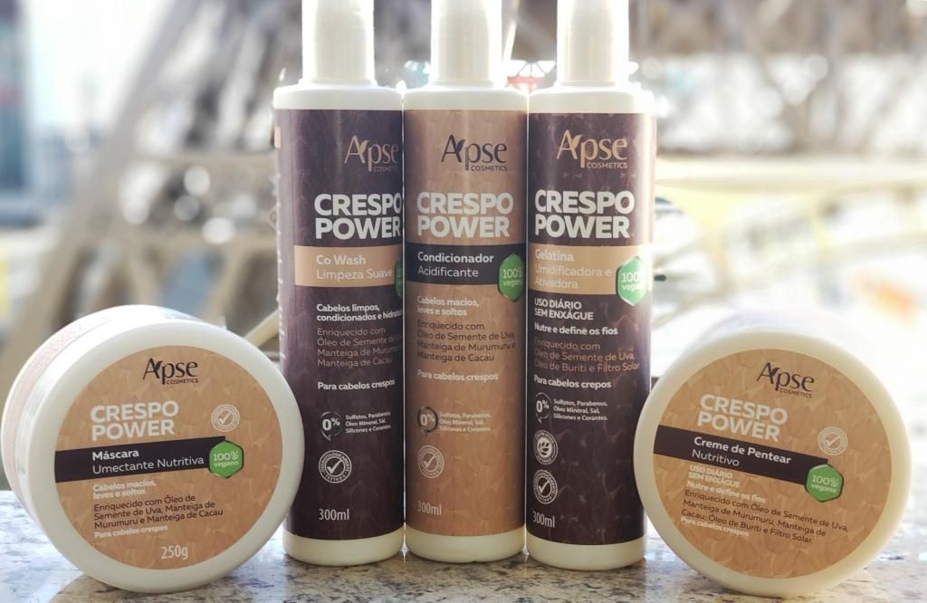 Kit Crespo Power completo - 5 produtos Apse - 100% VEGANO