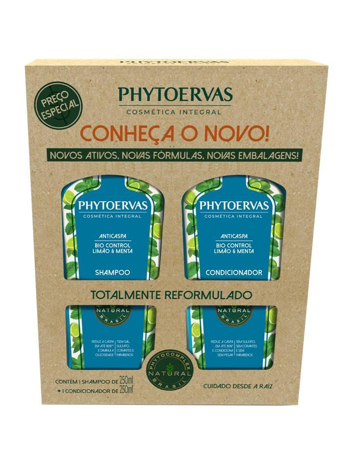Kit Shampoo e Cond Anticaspa Limão e Menta Phytoervas 250ml