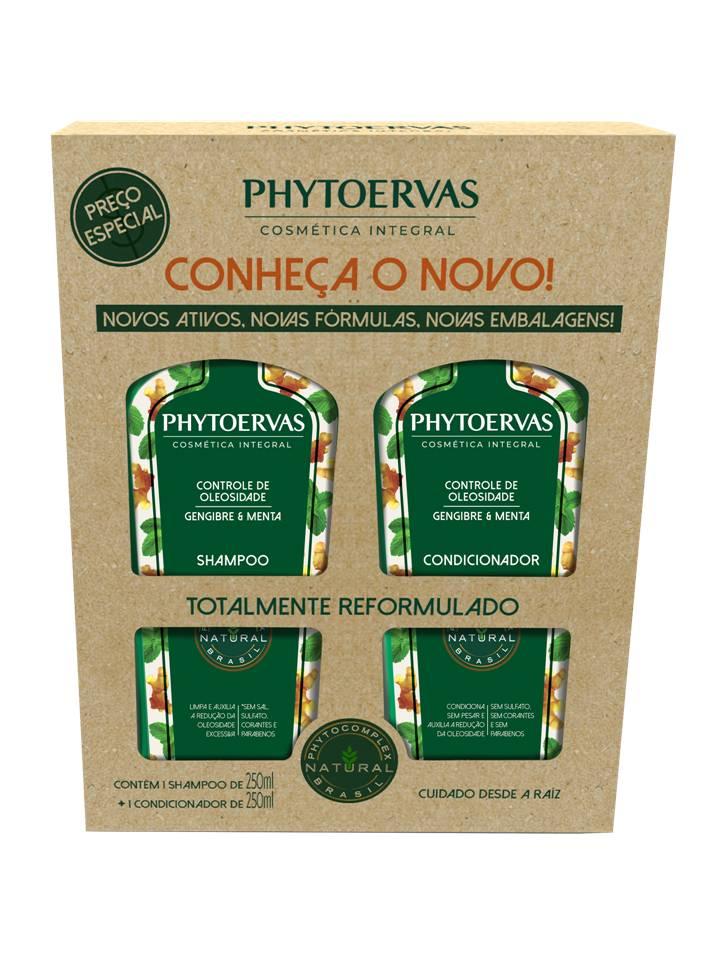 Kit Shampoo e Cond Controle de Oleosidade Gengibre e Menta Phytoervas 250ml