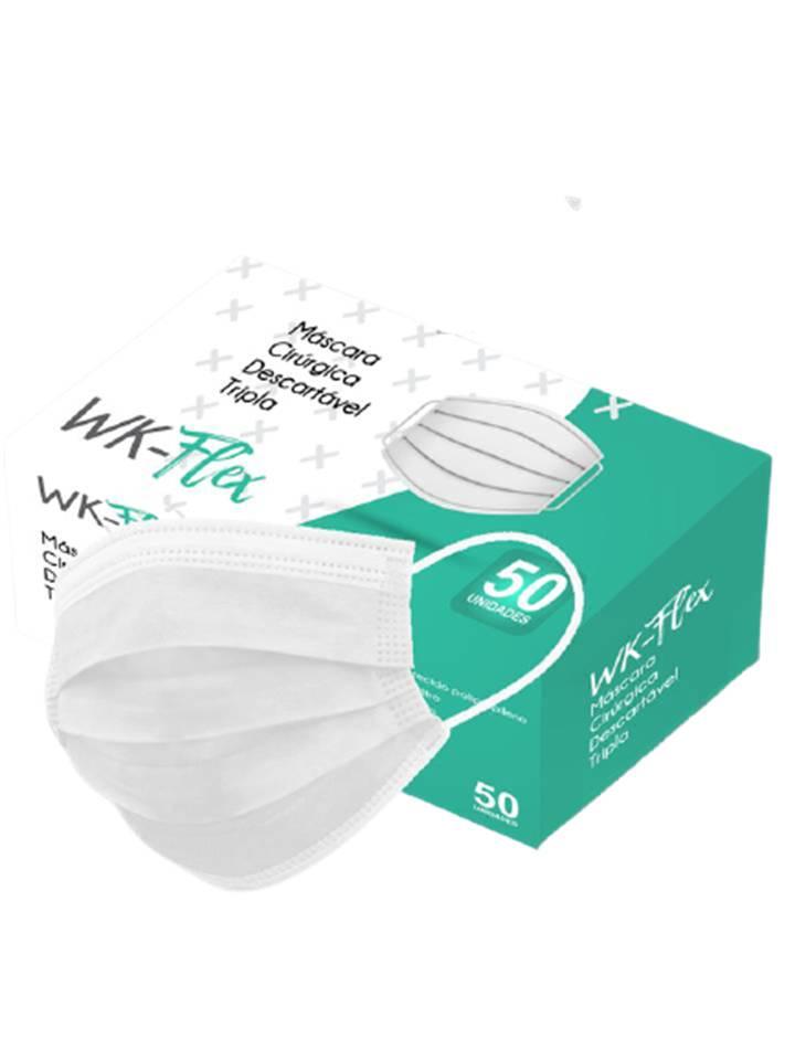 Mascara Cirúrgica Descartável Tripla Camada com 50 unid