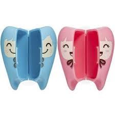 Porta Escova Dentinho Rosa e Azul Curaprox