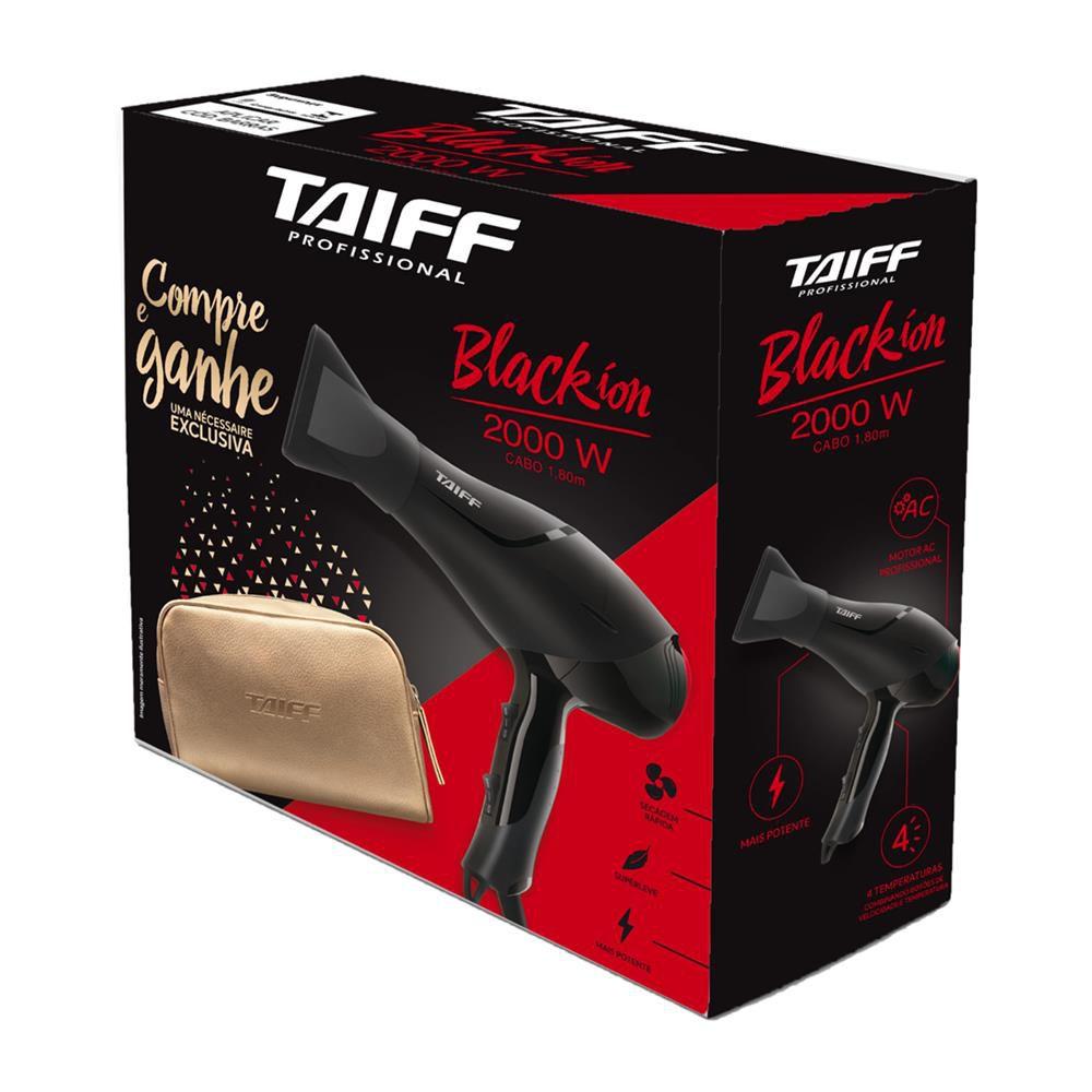 Secador de Cabelos Taiff Black Íon Profissional 2000W Preto com Necessaire 127W