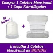 1 Coletor Menstrual BI (Colo Alto Fuxo Intenso ) + 1 Copo Esterilizador + 2 Brindes
