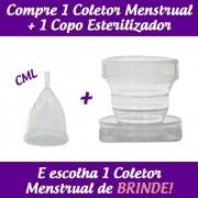 1 Coletor Menstrual CML (Colo Médio Longo) + 1 Copo Esterilizador + 2 Brindes