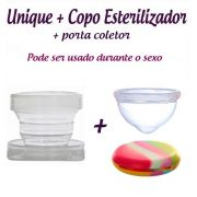 Kit Coletor Menstrual Unique 60ml + Copo Esterilizador + Porta Coletor