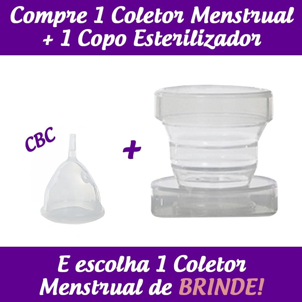 1 Coletor Menstrual CBC (Colo Baixo Curto) + 1 Copo Esterilizador + 2 Brindes