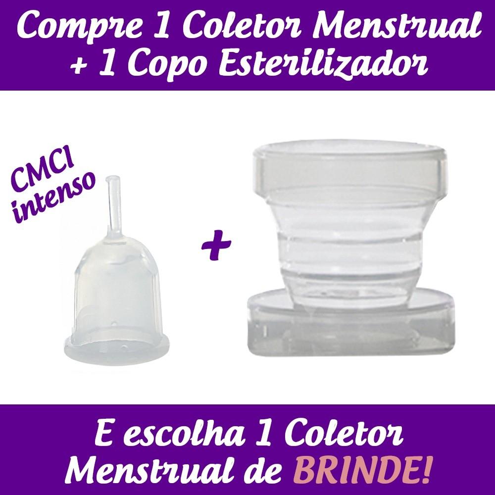 1 Coletor Menstrual CMCI (Colo Médio Curto - Fluxo Intenso) + 1 Copo Esterilizador + 1 Brinde