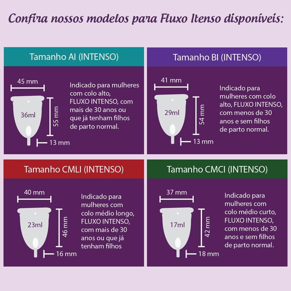 1 Coletor Menstrual CMCI (Colo Médio Curto - Fluxo Intenso) + 1 Copo Esterilizador + 2 Brindes