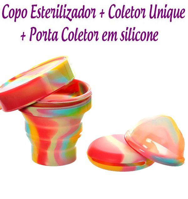 Kit Coletor Menstrual Unique 60ml + Copo Esterilizador Unicorn + Porta Coletor