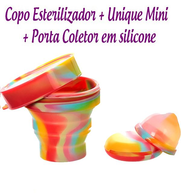 Kit Coletor Menstrual UNIQUE MINI 30ml + Copo Esterilizador Unicorn + Porta Coletor
