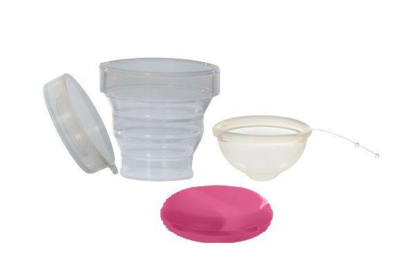 Kit Disco Menstrual Unique M 55ml + Copo Esterilizador + Porta Coletor