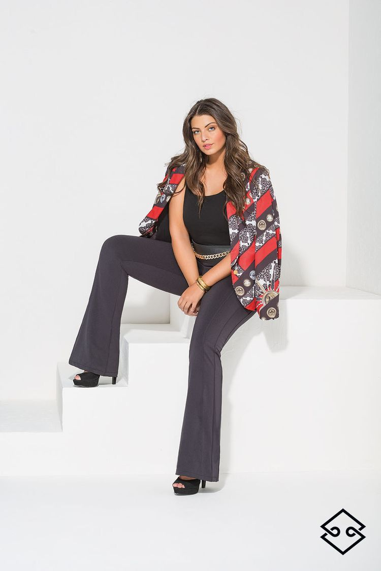Blazer Plus Size estampado