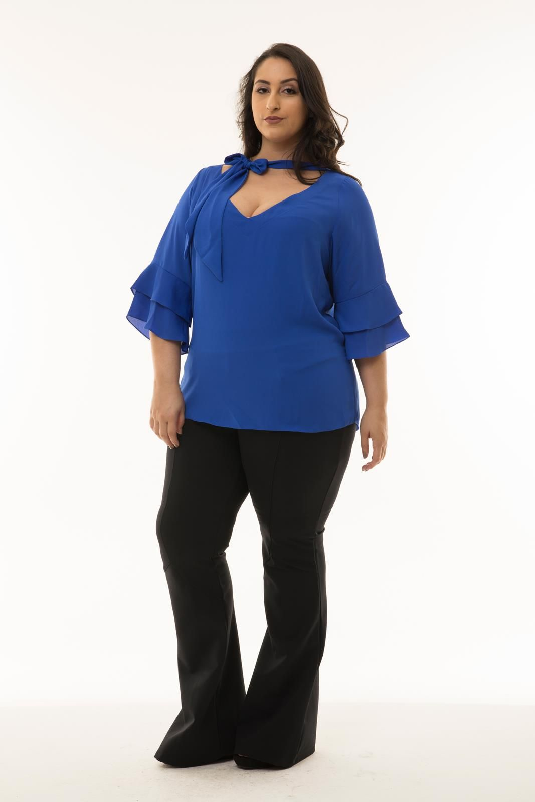 Blusa Plus Size azul royal