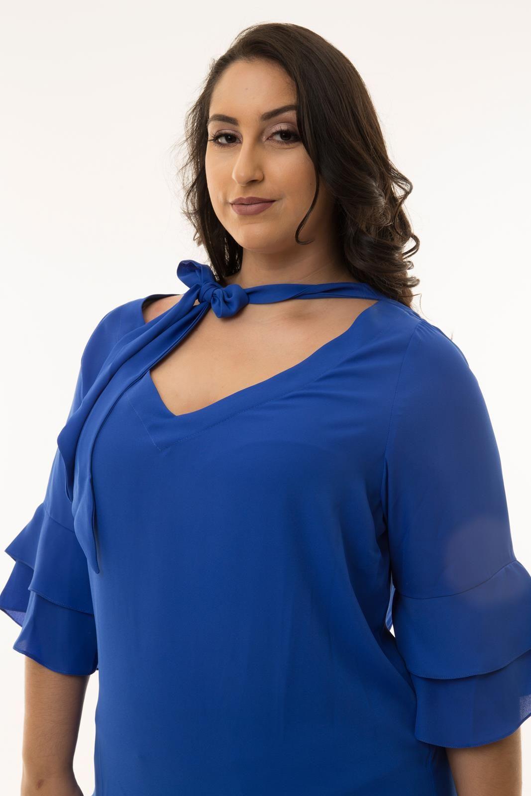 Blusa Plus Size azul royal