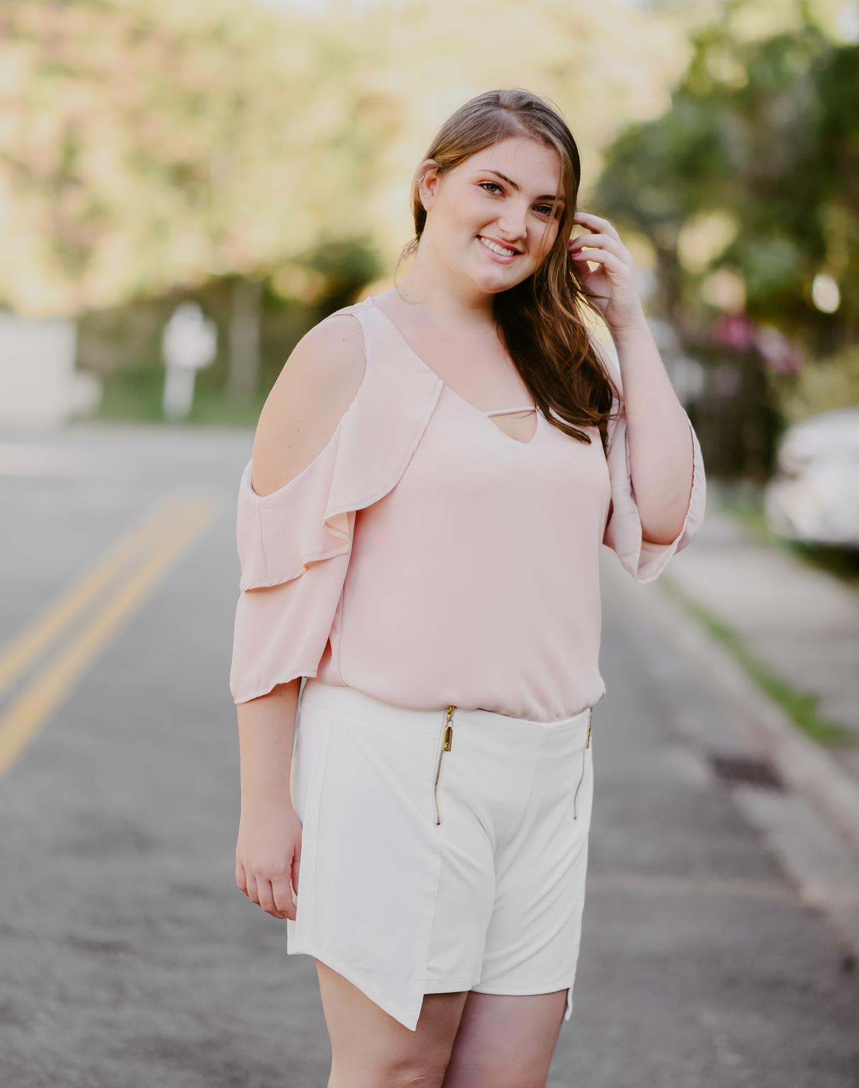 blusa plus size com babado nas mangas rose