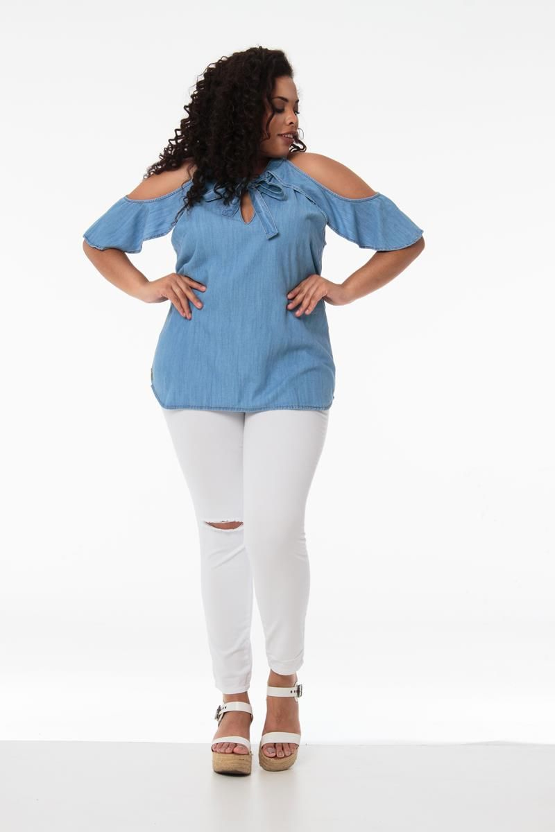 Calça Plus Size branca destroyed