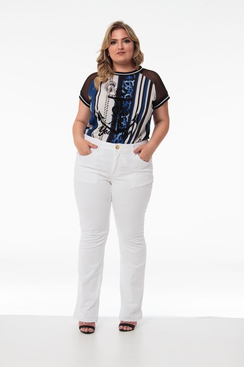 Calça Plus Size flare jeans branca