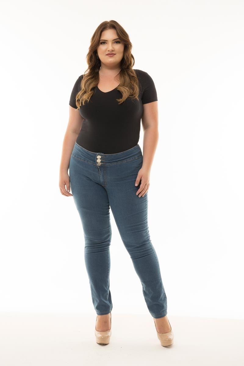 Calça Plus Size jeans botões