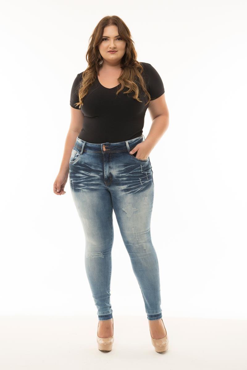 Calça Plus Size jeans Leticia