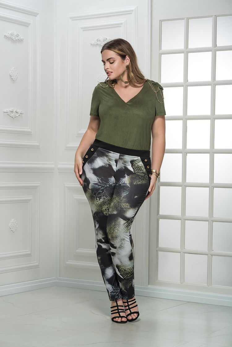 Calça plus size legging estampada verde